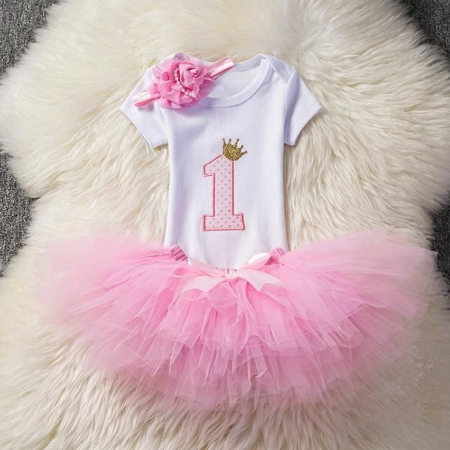Toddler Kids Baby Girls 1st Birthday Tops Romper Skirt Dress Outfits Clothes Set