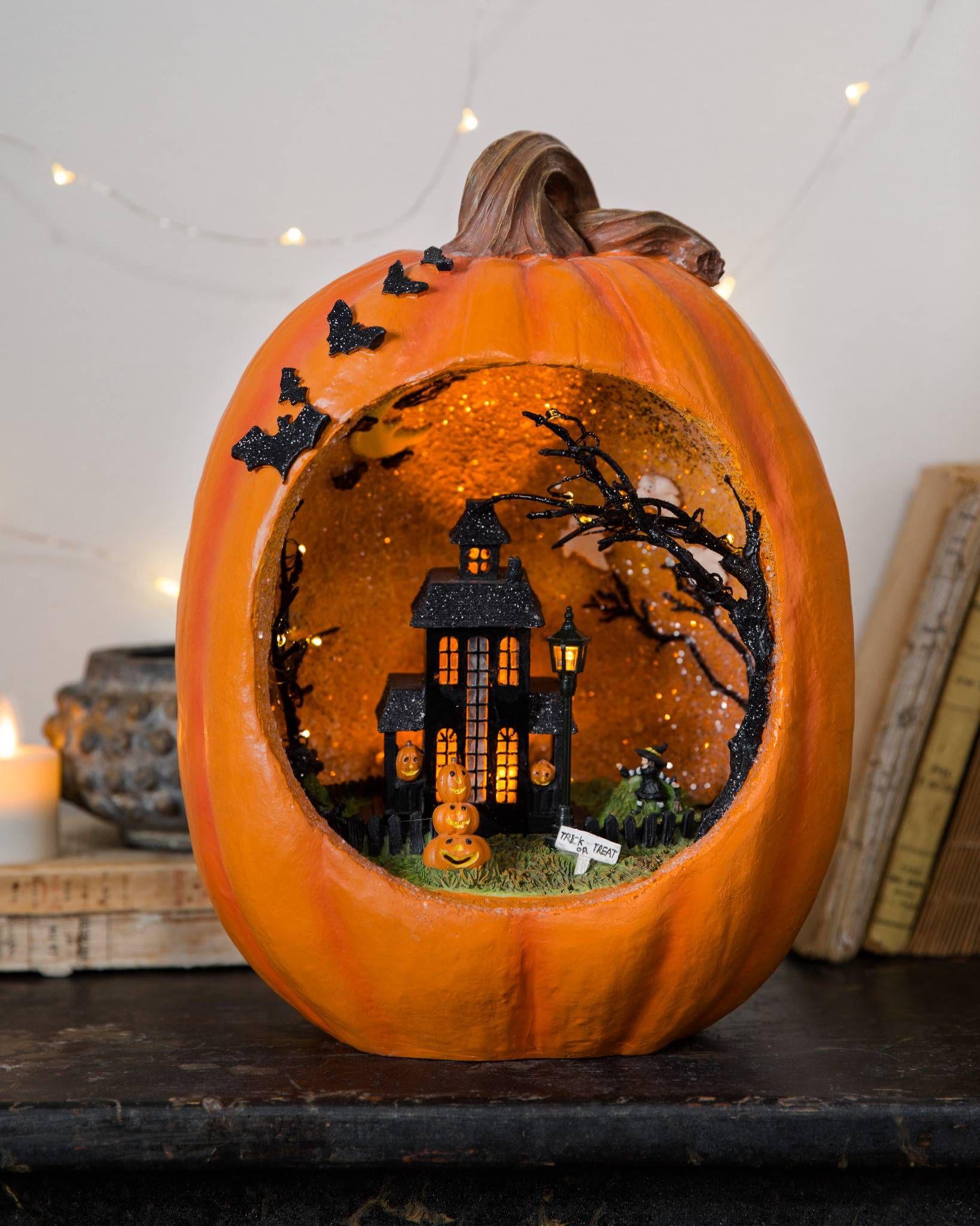 "Vintage Style Halloween Little Girl Pumpkin Resin Figurine Tabletop Decor 7/"""