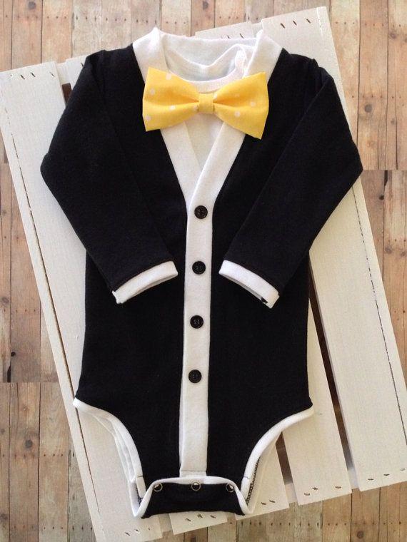 fc17ac90c702 Baby Tuxedo Cardigan One Piece  Black and White by TheHumbleLemon ...