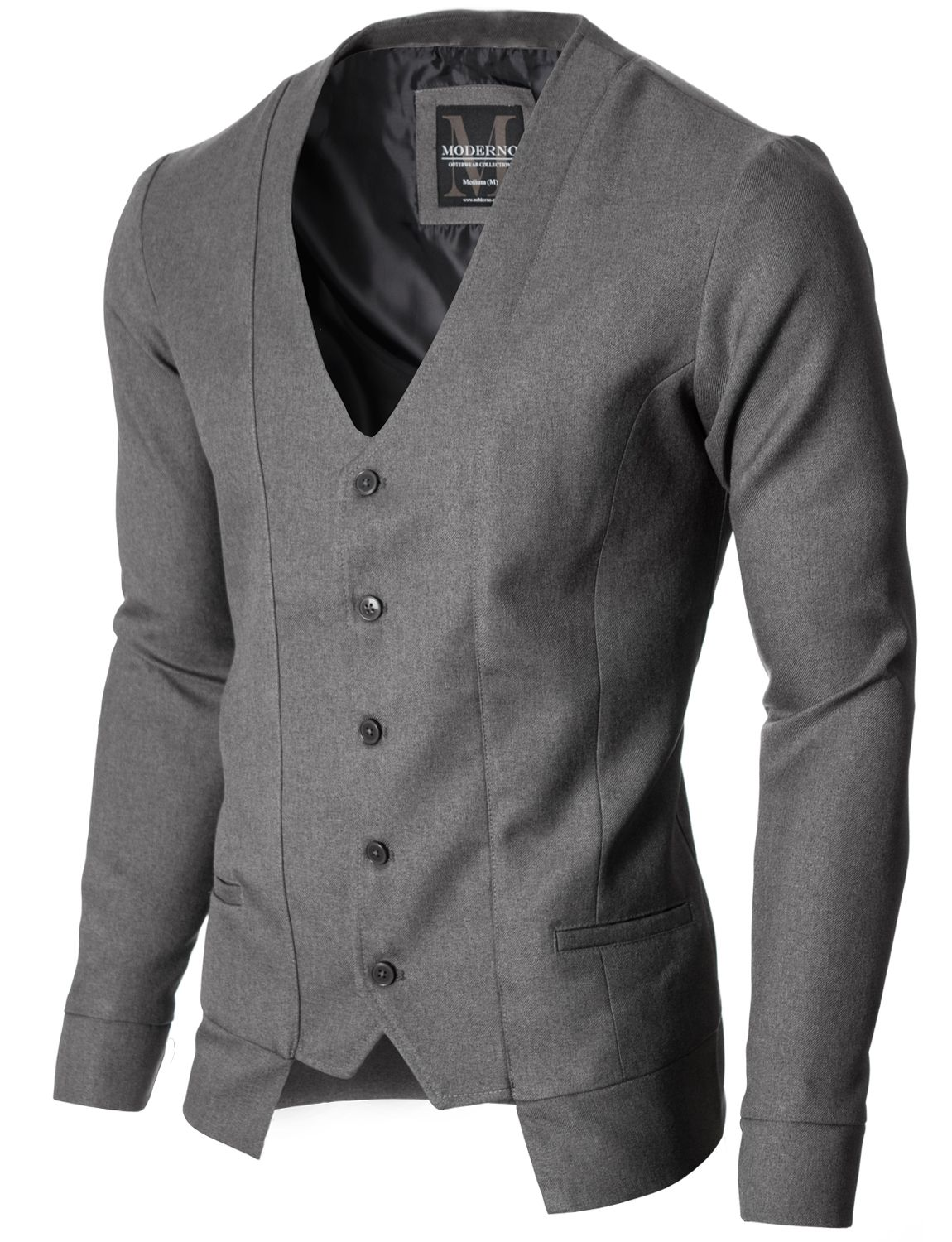 MEN FALSE TWO PIECES SLIM FIT STAND COLLAR LONG SLEEVE CARDIGAN SWEATER NICE