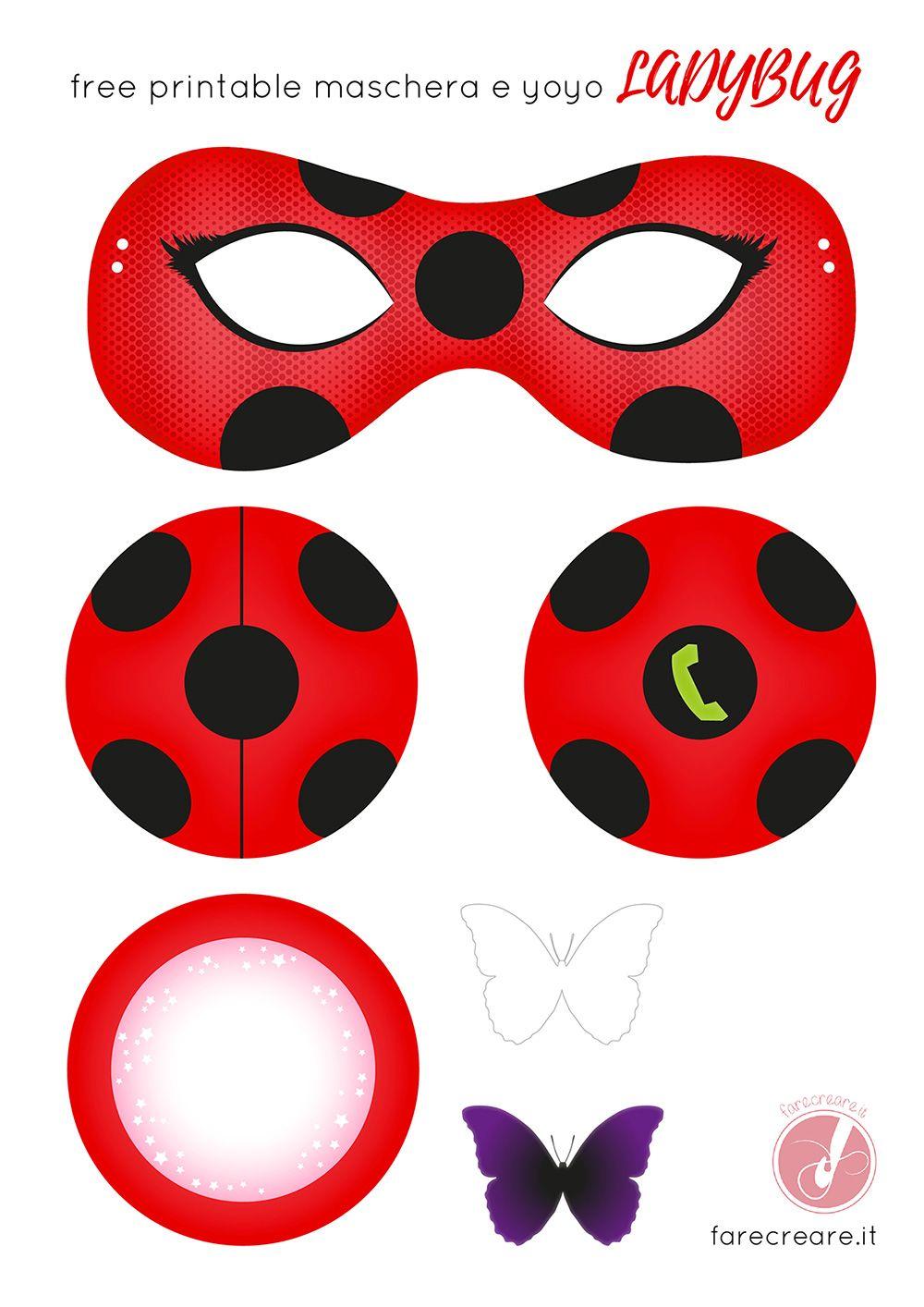 Come fare lo yoyo e la maschera di Lady bug in carta- Free template ...