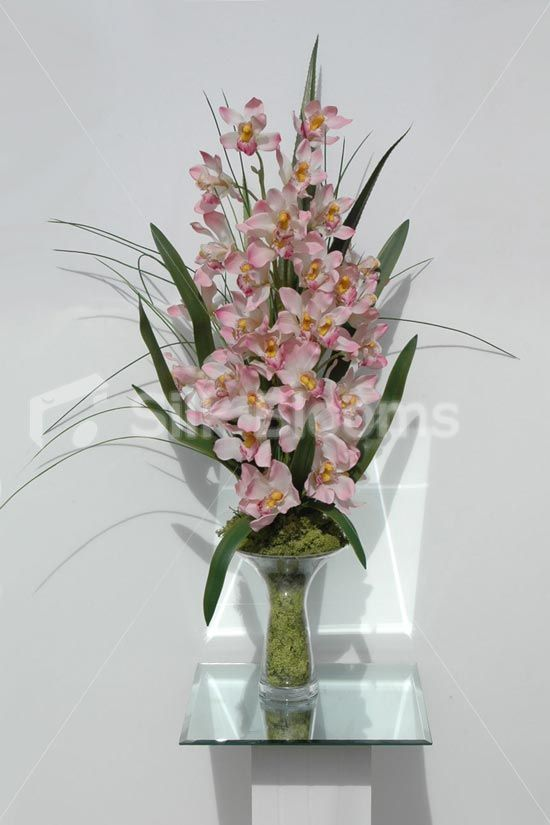 Pink Orchid Display Amazing Quality Real Touch And Ultra Realistic Comes Fully Assembled In A Glas Table Floral Arrangements Flower Arrangements Orchid Vase
