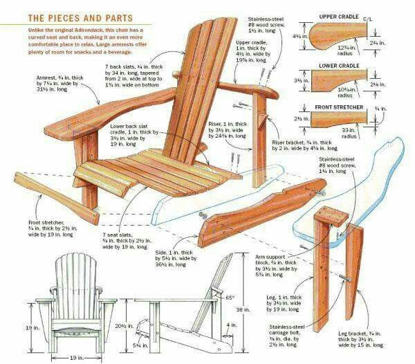 Anatomy Of A Basic Adirondack Chair Woodworking Projects Plans Woodworking Wood Furniture Plans