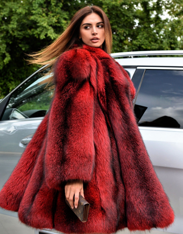 d52943195df Warm Red And Black Fur Coat in 2019 | My Threads by Denise | Black ...