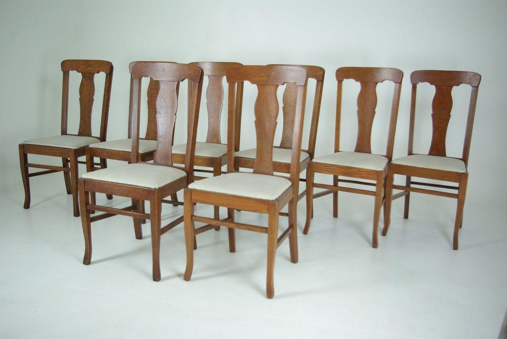 Pleasant B348 Set Of 8 Vintage Oak Tback Dining Chairs In Tiger Oak Short Links Chair Design For Home Short Linksinfo