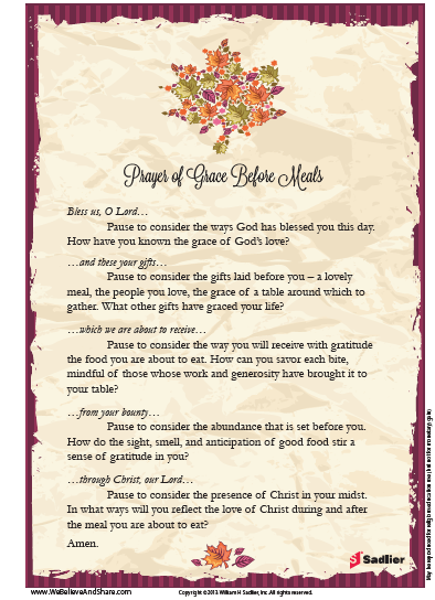 Extended Prayer Of Grace Before Meals Perfect For Thanksgiving