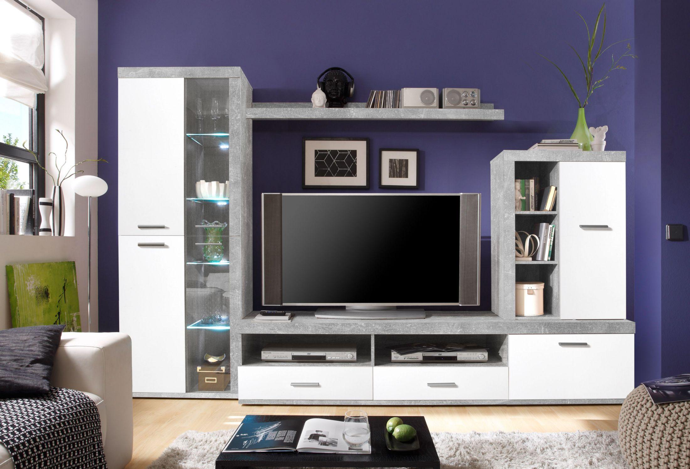 Wohnwand Mit Glaselement Beton/ Weiss Woody 61 00171 Holz Modern Jetzt  Bestellen Unter: