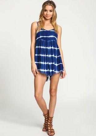 Blue Tie Dye Fray Slip Romper, BLUE