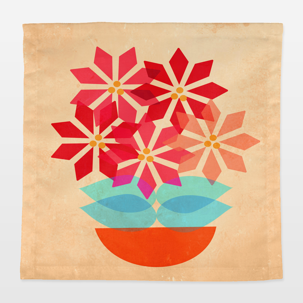 Fun Indie Art from BoomBoomPrints.com! https://www.boomboomprints.com/Product/mirimo/Poinsettia_Pot/Napkins/4_Cocktail_-_10x10/