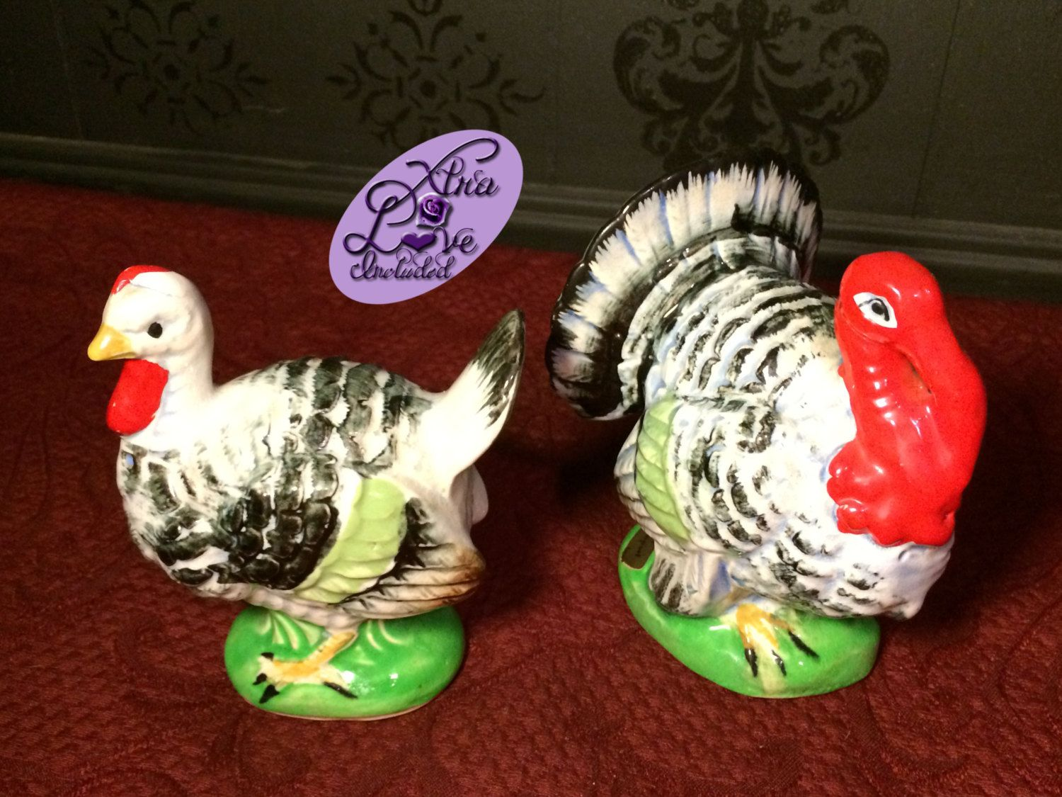 Rare Vintage Ceramic Grey Tom & Hen Turkeys Salt and Pepper Shakers by XtraLoveIncluded on Etsy