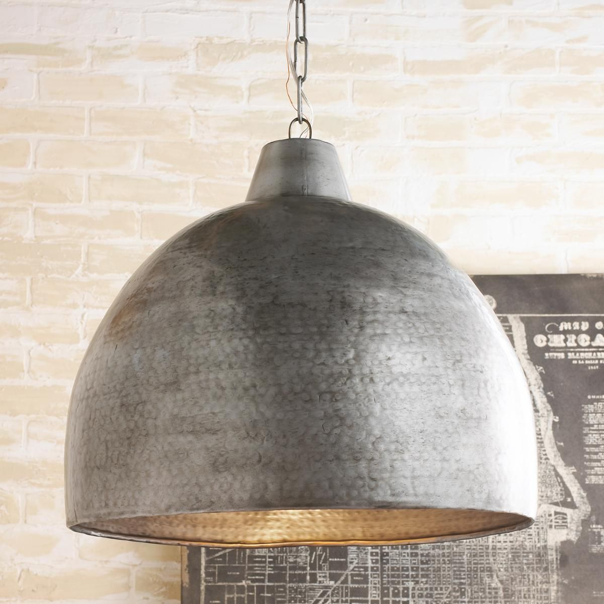 Hammered Steel Oversized Dome Pendant