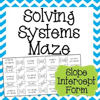 Systems Of Equations Maze Slope Intercept Form Solve By Graphing