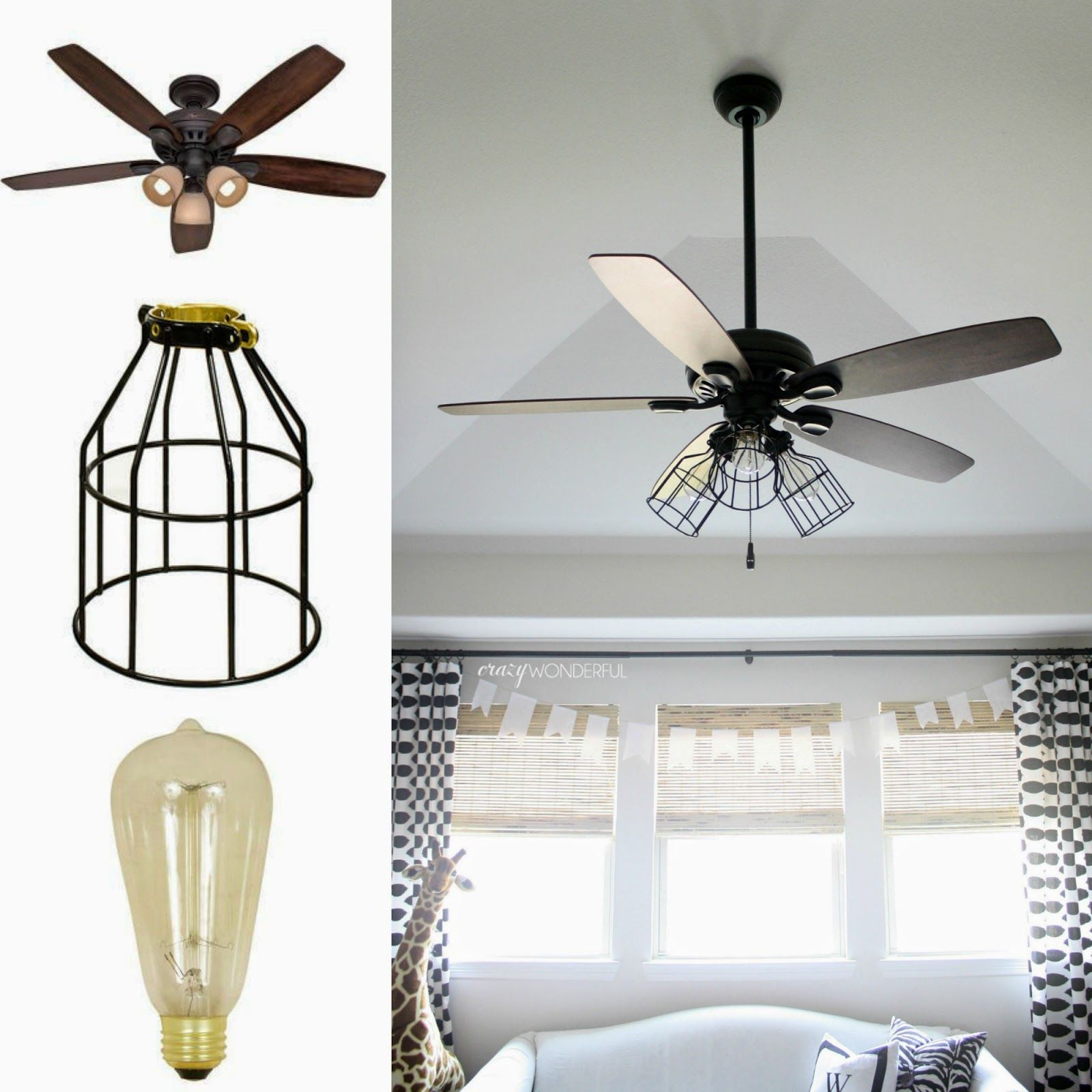 Crazy Wonderful DIY Cage Light Ceiling Fan Crazy Wonderful Blog - Kitchen fan light fixtures