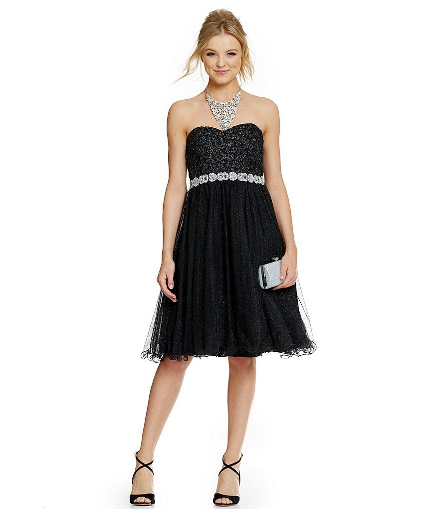 Jodi Kristopher Strapless Glitter-Accented Tea Length Party Dress ...
