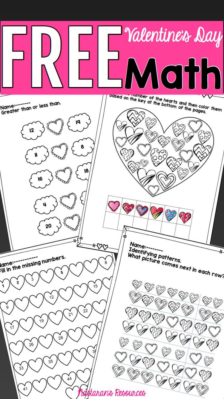 Free Valentine's Day Math Worksheets   Valentine math worksheet [ 1334 x 750 Pixel ]