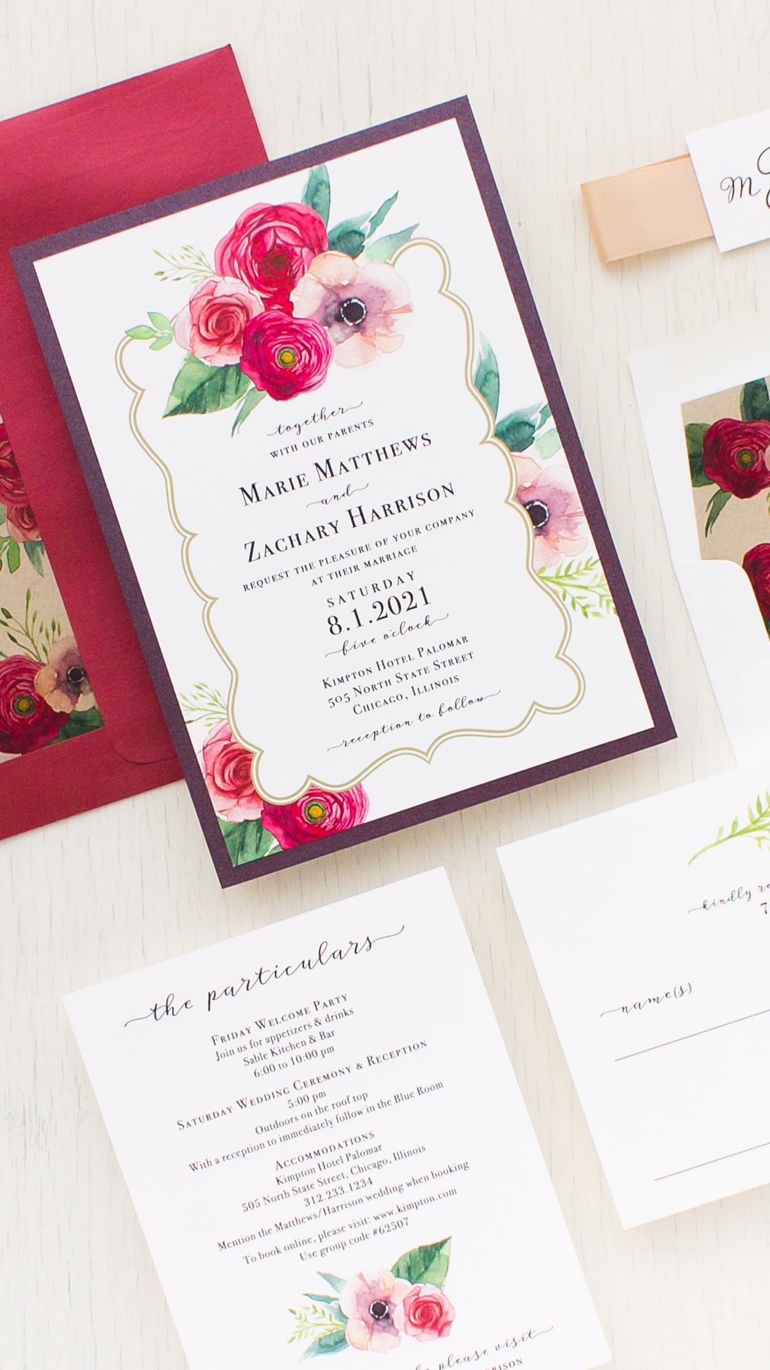Deep Red Roses Wedding Invitations | Rose wedding, Floral wedding ...