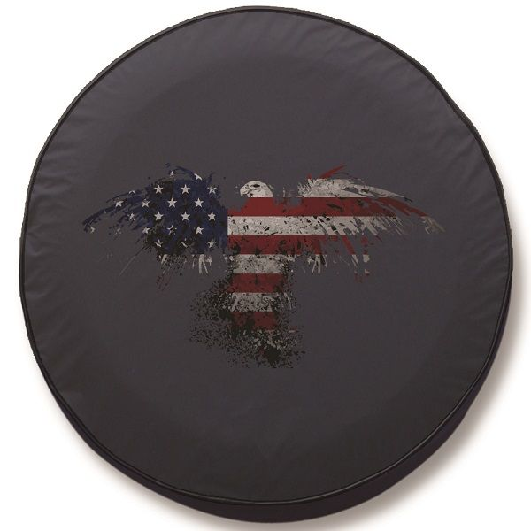 American Flag Eagle Outline Spare Tire Cover Black Vinyl 32 1 4