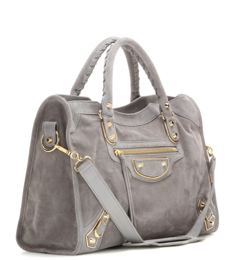 73ffa79bfc Classic Metallic Edge City dark grey suede tote