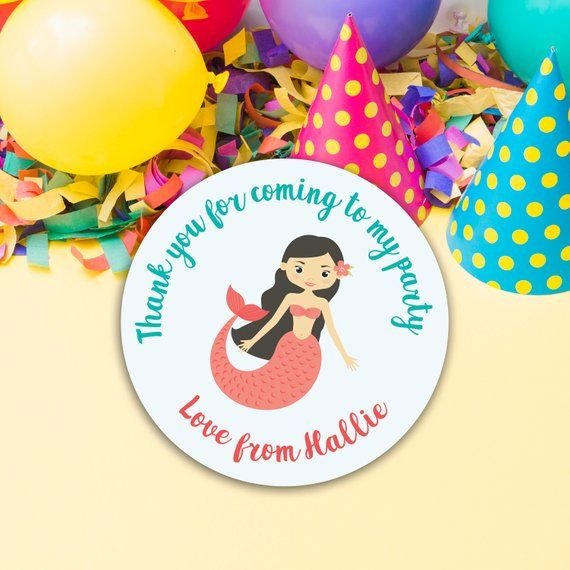 mermaid birthday party stickers personalised party bag stickers