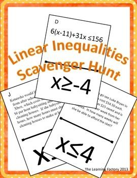 This is a scavenger hunt activity that covers linear inequalities.  It has both solving inequalities and word problems.