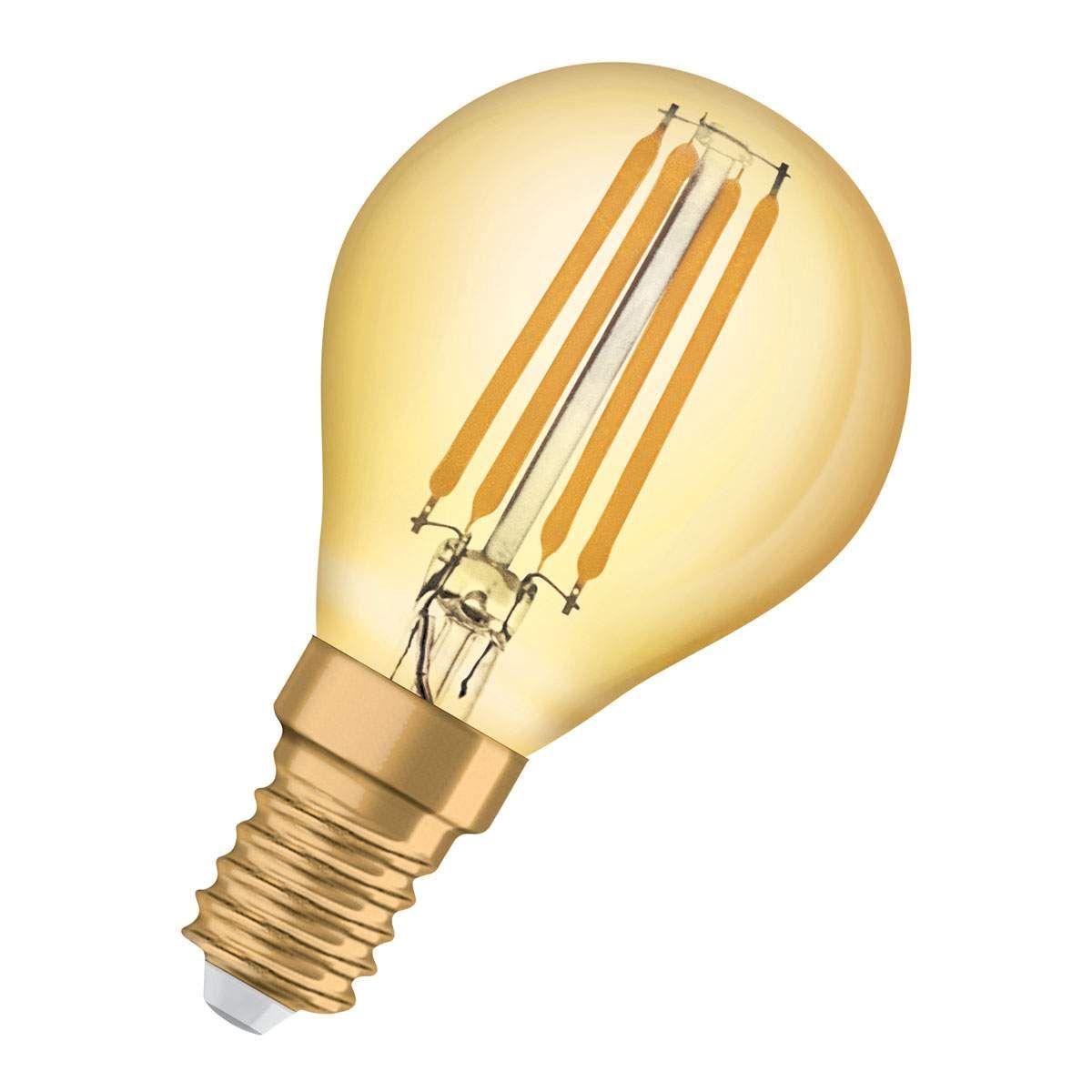 Osram Led Tropfen E14 1 4w Vintage Classic P Gold Led Osram Und Led Lampe