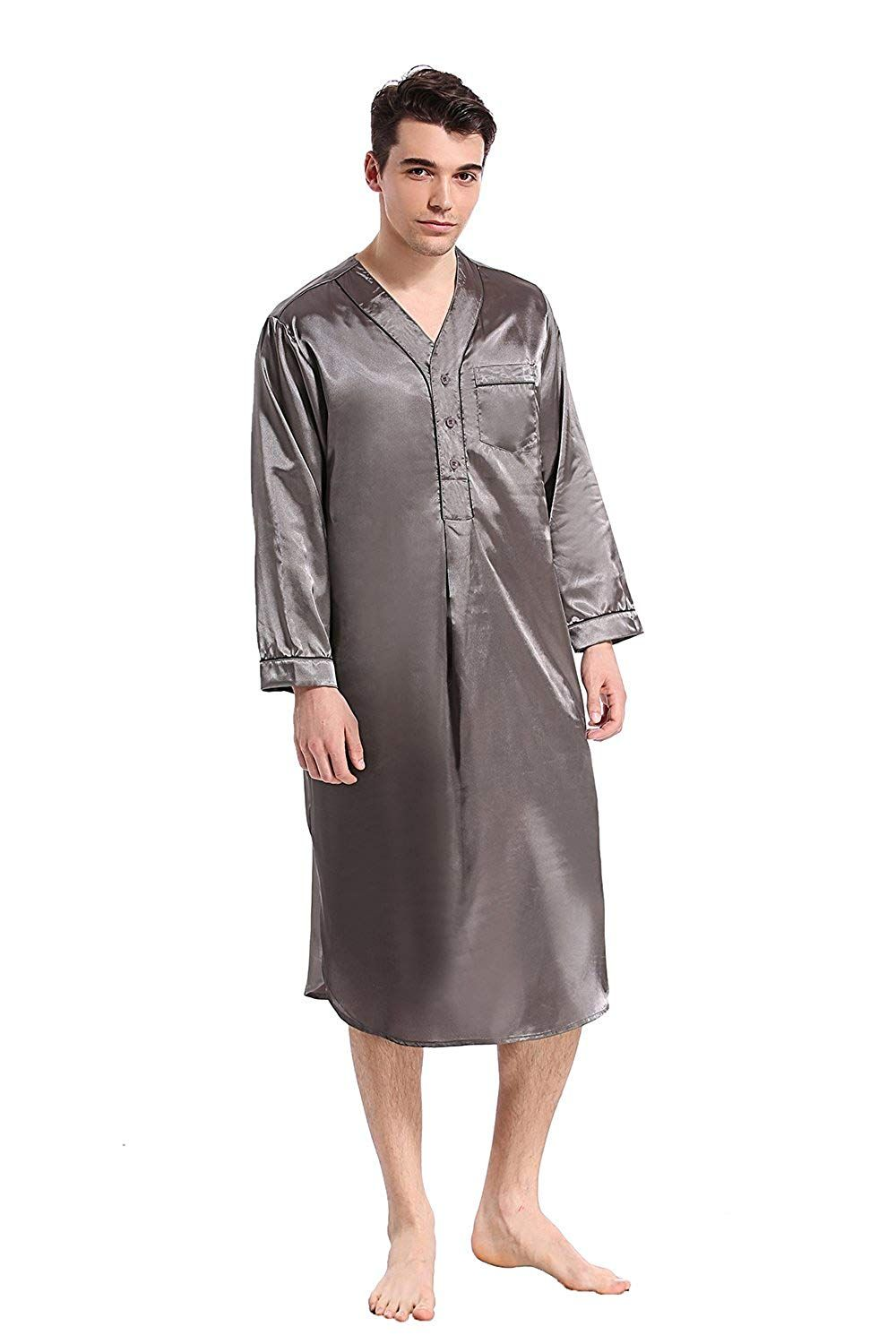 Like2sea Silky Satin Nightshirt for Men fc9102942