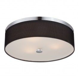 Three-light ceiling fixture in Chrome finish with fishnet fabric shade. By Philips Forecast