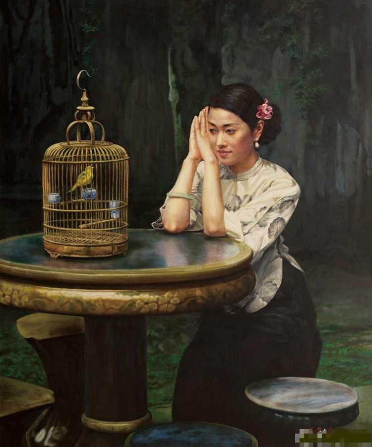 陈逸鸣油画作品:仕女系列-1 - 鸟语 2011年作 作品尺寸:117*96cm