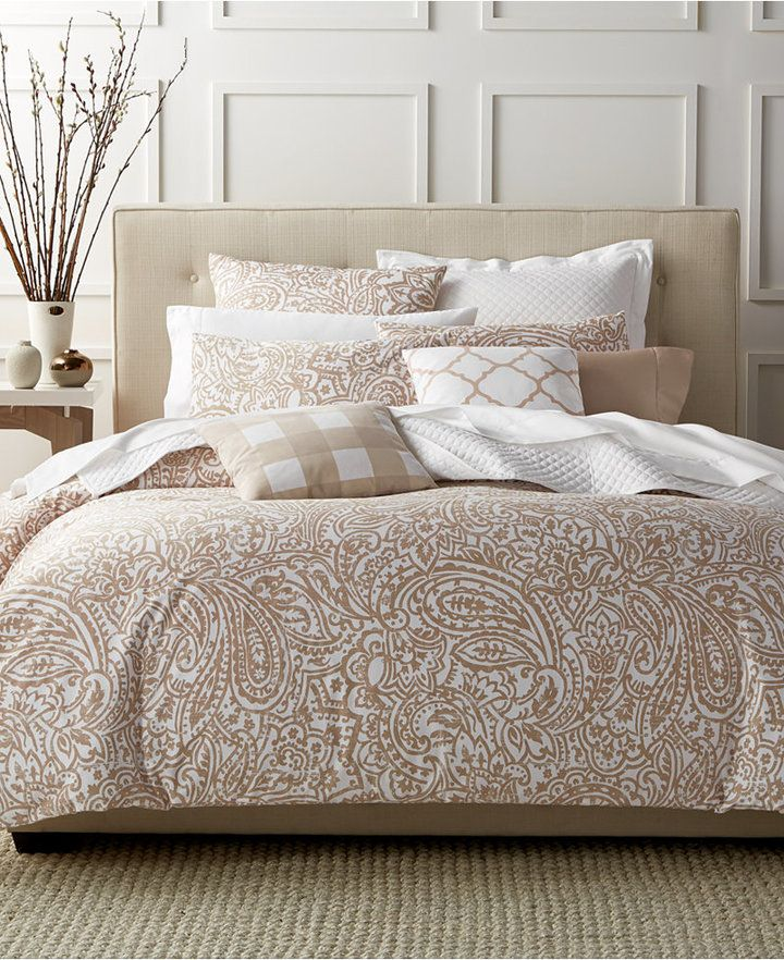 Charter Club Closeout Damask Designs Paisley Taupe Twin Duvet Set