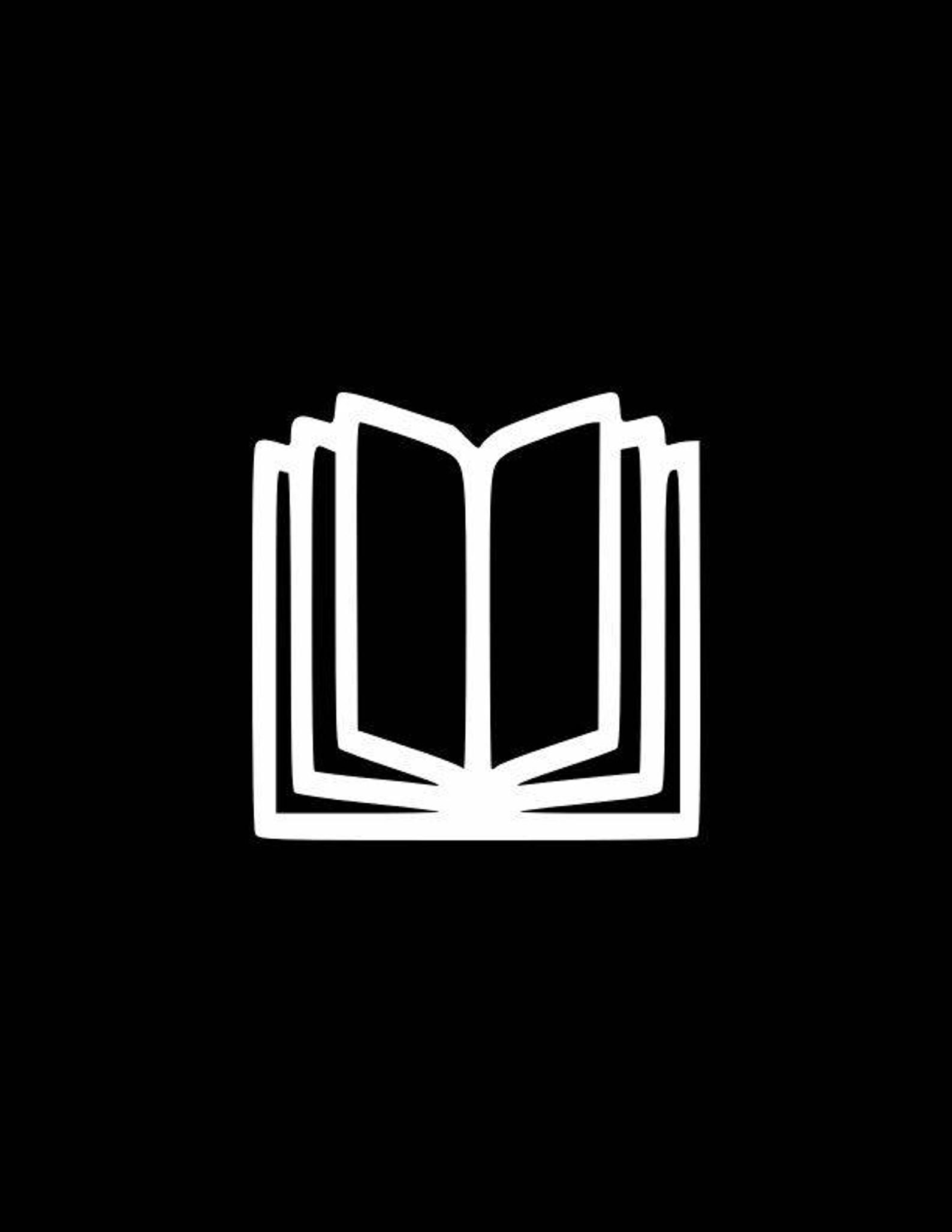 Open Book Book Lover Decal Laptop Decalcar Decalgifts For Etsy In 2020 Black And White Instagram Instagram Highlight Icons Book Icons