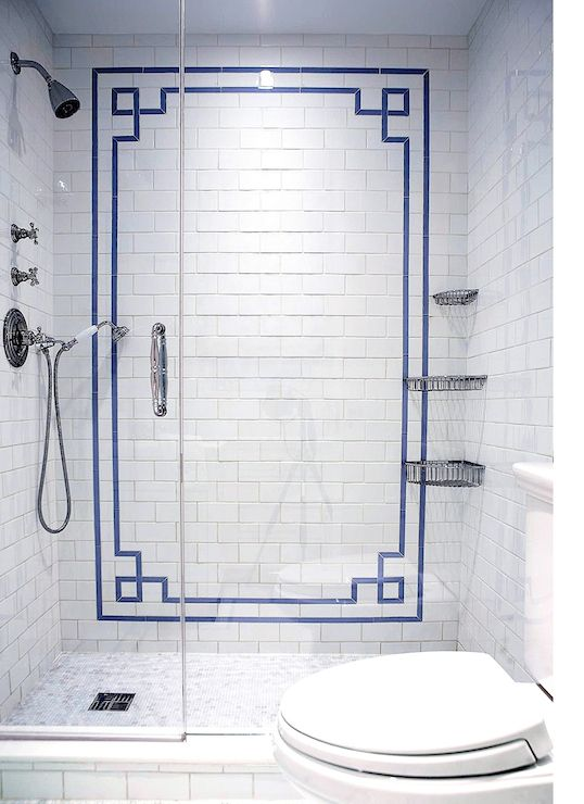 Blue Glass Shower Tile the renovated home - bathrooms - walk in shower, seamless glass