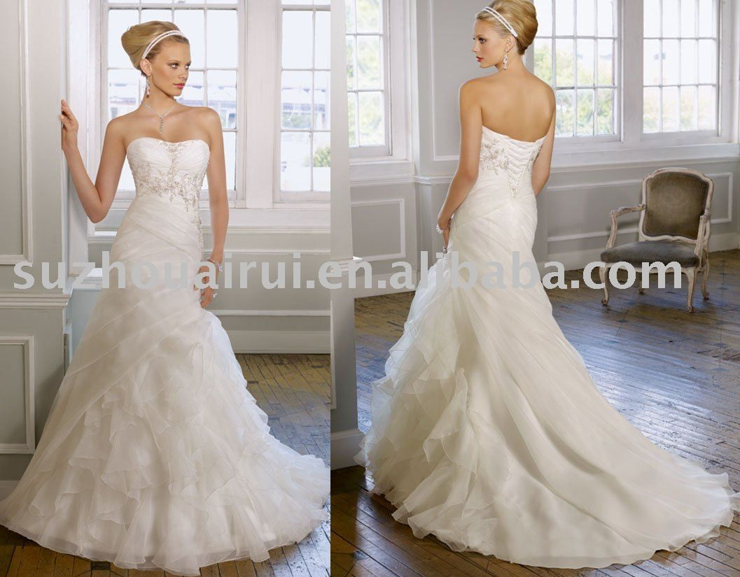 Strapless white wedding dresses photo with mermaid wedding dress