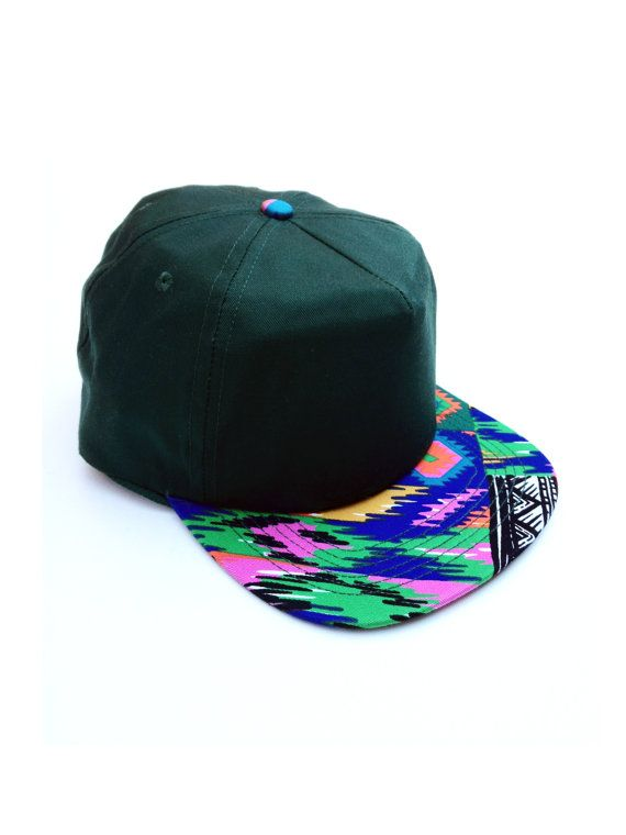 e398842ea93da WAS 30 - Dope 90s Rainbow Aztec Bill Snapback Cap - Dark Green ...