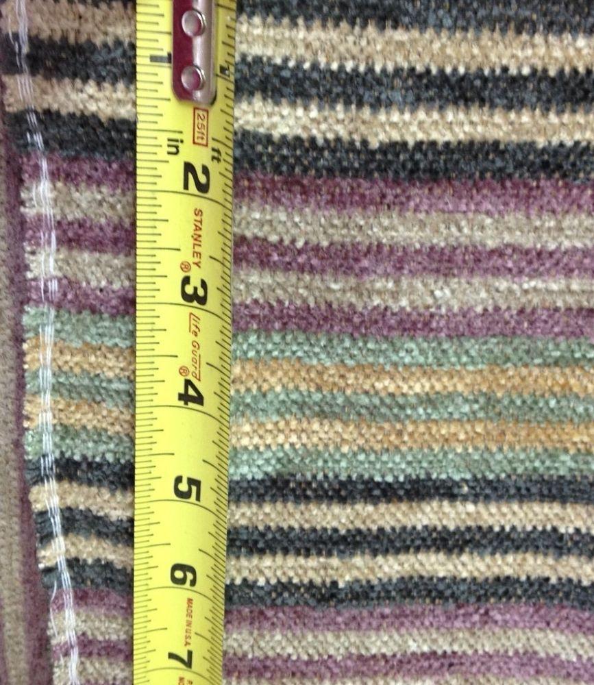 Gray purple spa blue tan stripe chenille fabric by the yard ...