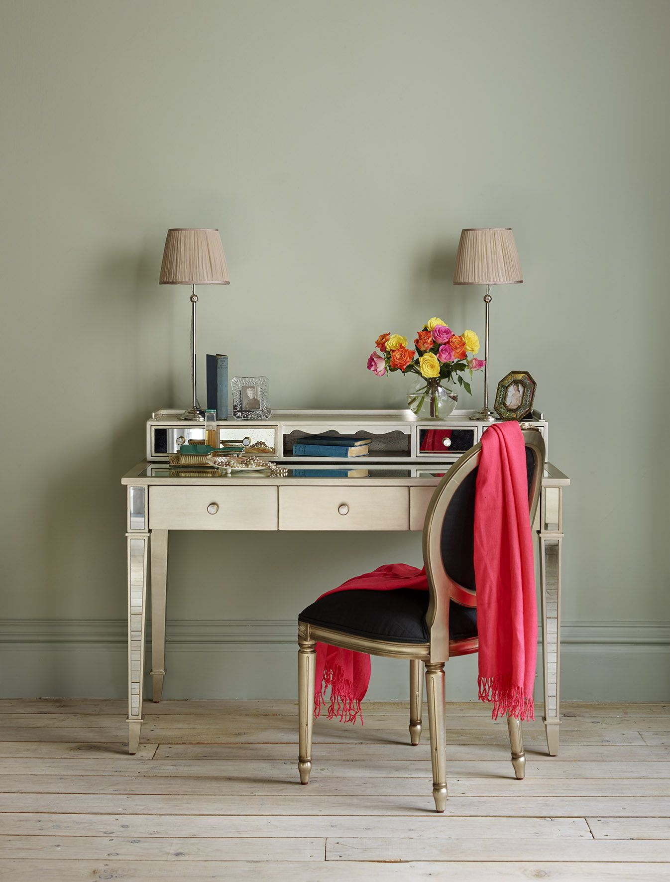 Mirrored Gladys Dressing Table designed by Nina Campbell for And So To Bed  - an element