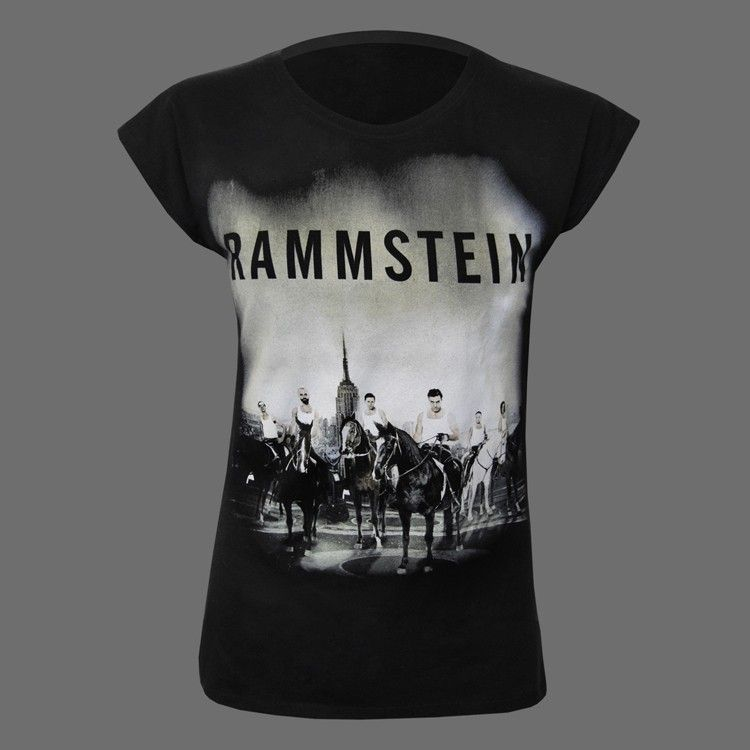 Black t-shirt with front print.  Material:100% cotton