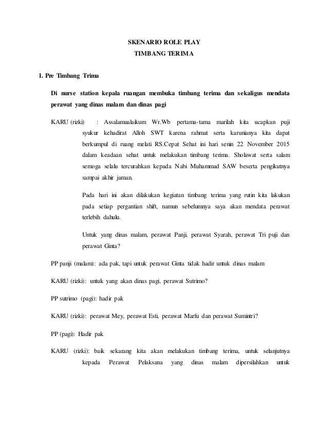 Skenario Role Play Timbang Terima 1 Pre Timbang Trima Di Nurse