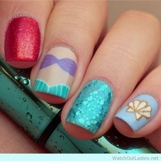 The Little Mermaid inspired nail design, so pretty
