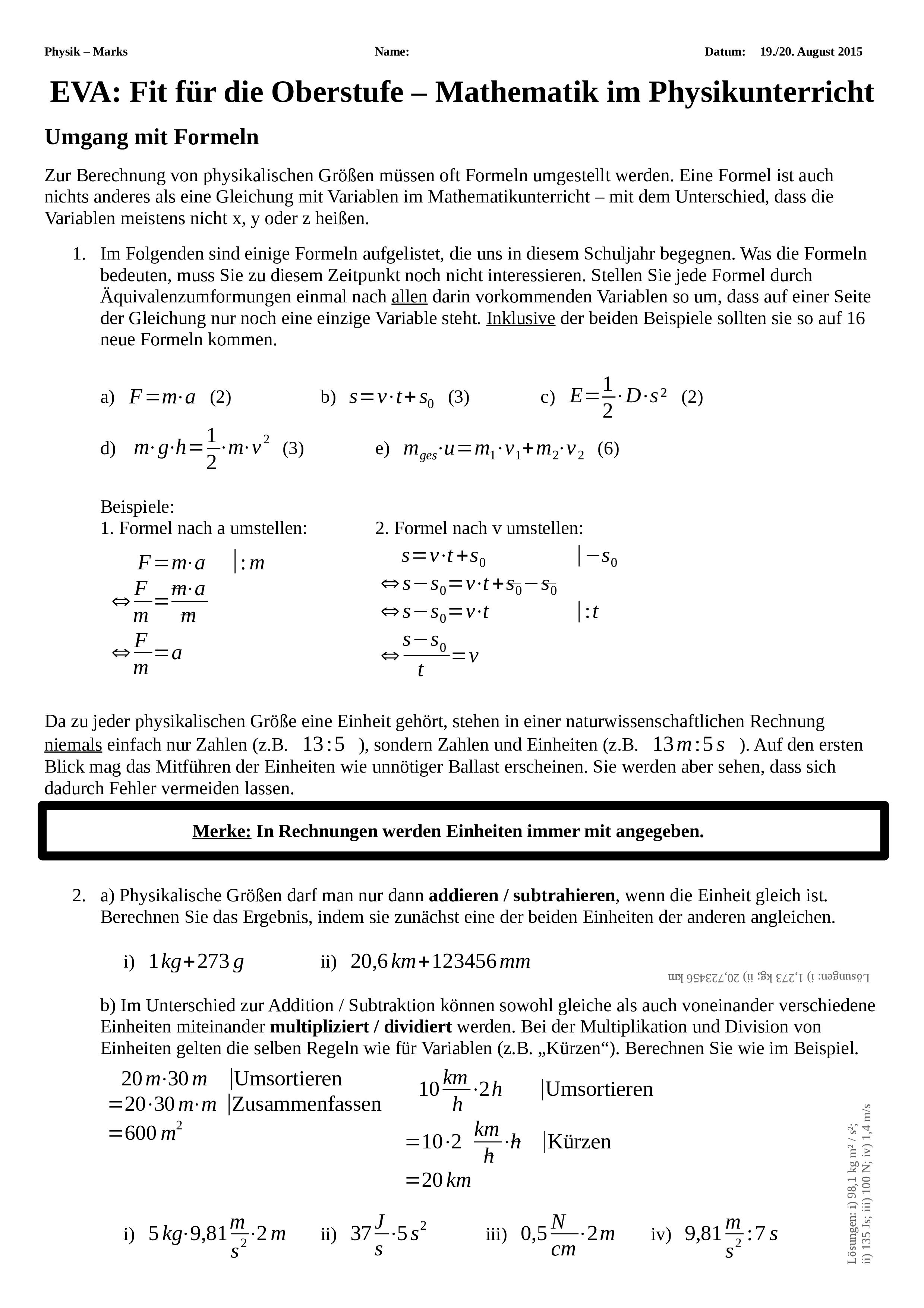 Mathematische Grundlagen Fur Die Physik Der Oberstufe Unterrichtsmaterial Im Fach Physik Mathematik Physik Mathematikunterricht