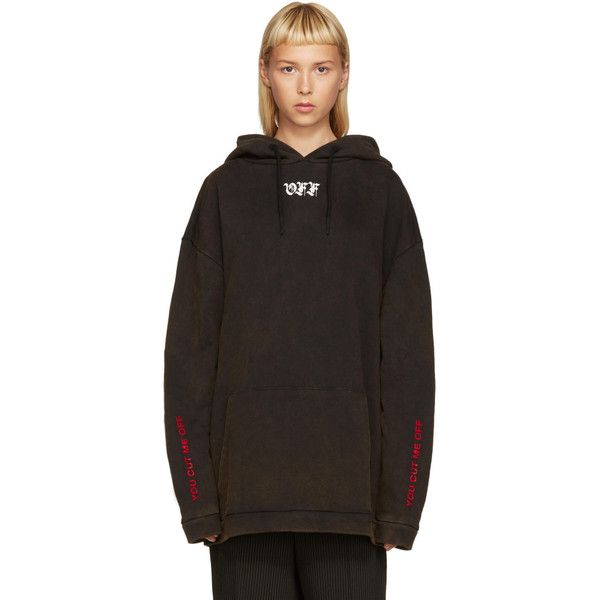f44d3ccb9214 Off-White Black Cut Off Hoodie ( 470) ❤ liked on Polyvore featuring tops