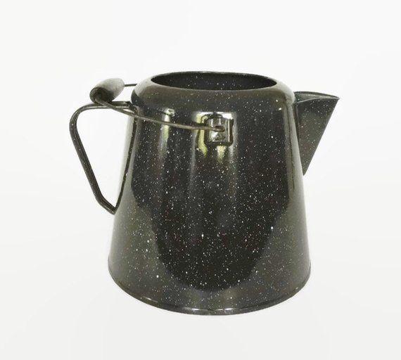 Large Enamel Coffee Pot Vintage Graniteware Cowboy Black White Speckle Rustic Farmhouse D