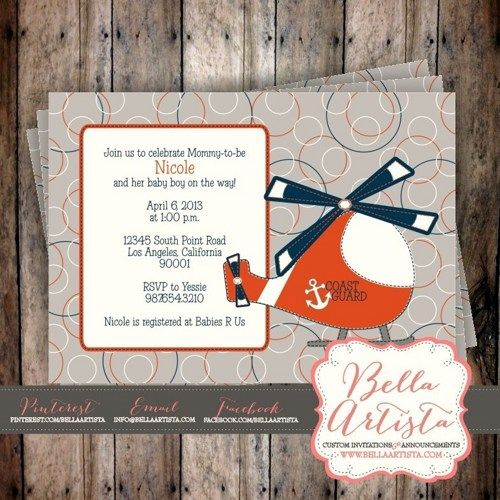 Coast Guard Rescue Helicopter Baby Shower Invitation, Birthday - fresh invitation card to chief guest