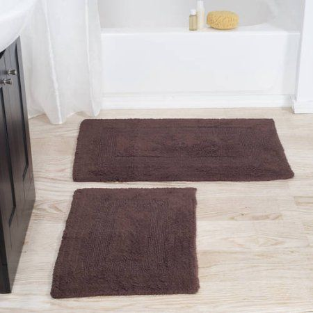 Somerset Home 100 Cotton 2 Piece Reversible Rug Set Chocolate Rugs Bath Mat Sets