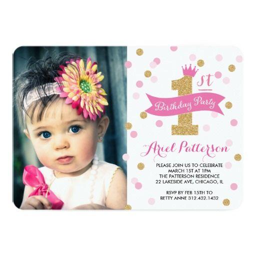 Birthday Party First Birthday Princess Photo 5x7 Paper Invitation