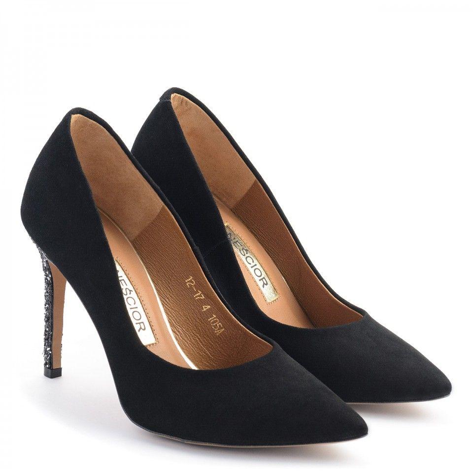 Czarne Zamszowe Szpilki Na Wysokim Ozdobnym Obcasie 105a Nescior Sklep Firmowy Heels Peep Toe Shoes