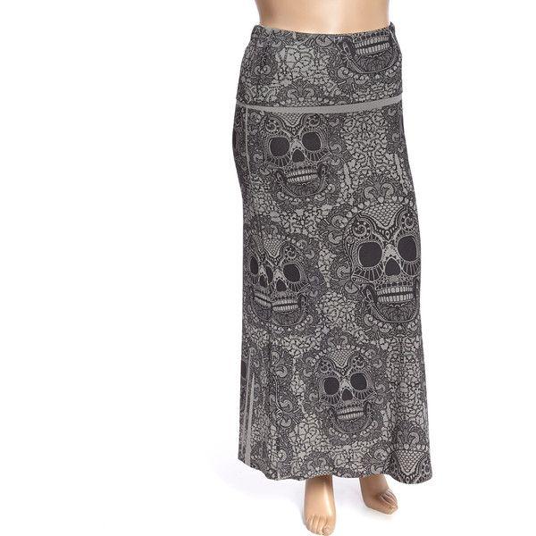 6695f8bfdd Poliana Plus Gray & Black Skull Maxi Skirt ($20) ❤ liked on Polyvore  featuring
