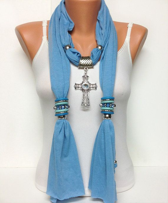 cross jewelry scarf 3 different color gift