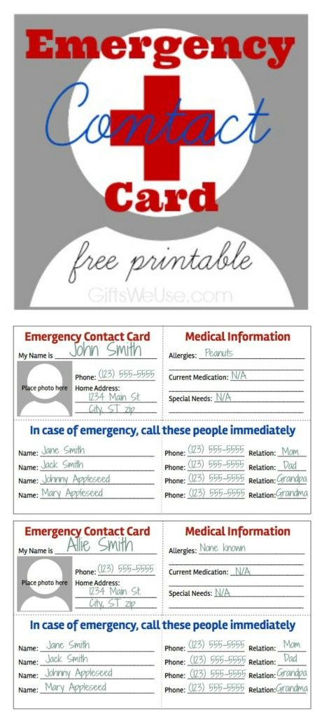 emergency contact card free printable gifts we use household planner organizing binder. Black Bedroom Furniture Sets. Home Design Ideas