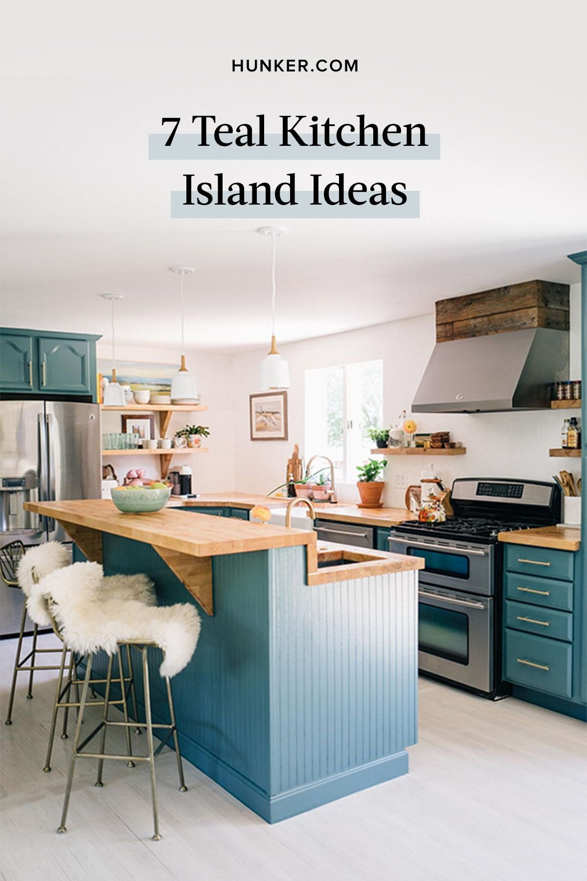 7 Teal Kitchen Island Ideas That Won T Give You The Blues Hunker Teal Kitchen Teal Kitchen Cabinets Kitchen Inspirations