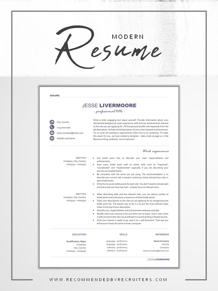 Modern Resume Professional Cv Design With Icons Modern Resume Template Resume Examples Resume Template